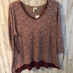 Tops - NWT Burgundy Tunic With Lace Trim